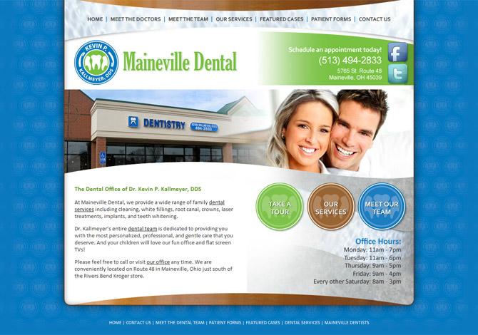 Dental Office Website Design Maineville Dental  Radiant Web Design  WordPress Websites .