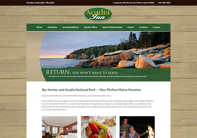 Acadia Inn Hotel Website