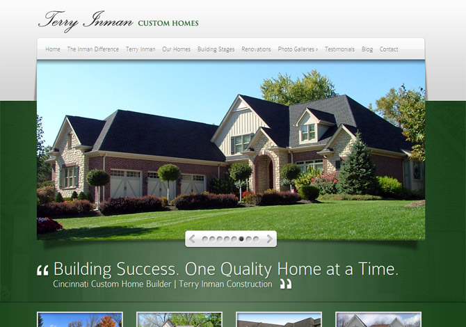 Inman Custom Homes Radiant Web Design WordPress Websites