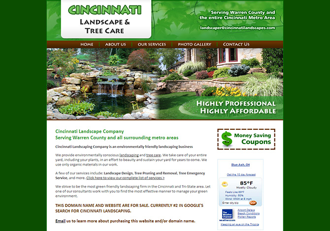 Cincinnati landscaping radiant web design wordpress for Landscaping business